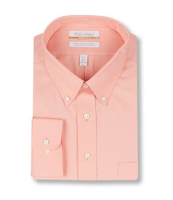 ラウンドトゥリーアンドヨーク レディース シャツ トップス Gold Label Roundtree & Yorke Big & Tall Non-Iron Button-Down Collar Solid Pinpoint Dress Shirt Orange