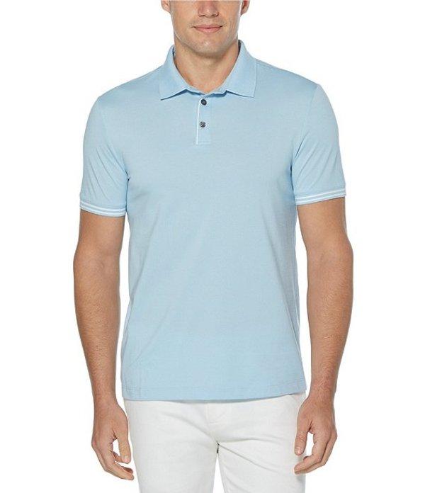 ペリーエリス レディース シャツ トップス Big & Tall End-On-End Icon Short-Sleeve Polo Shirt Cerulean