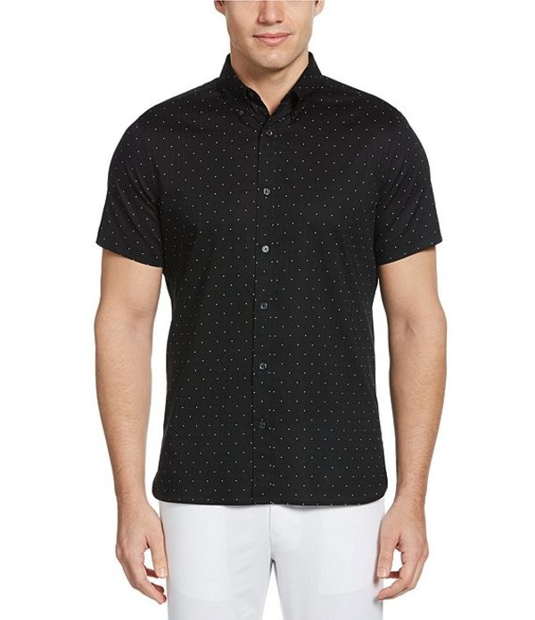 ペリーエリス レディース シャツ トップス Dot Print Dobby Short-Sleeve Woven Shirt Black