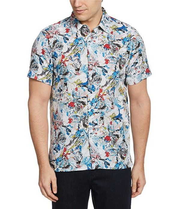ペリーエリス レディース シャツ トップス Paint Brush Strokes Print Wrinkle-Resistant Short-Sleeve Woven Shirt Dark Blue