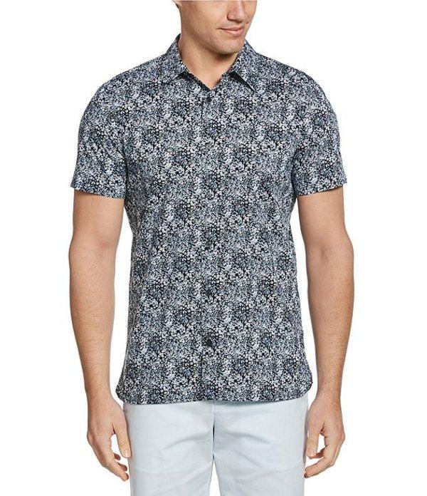 ペリーエリス レディース シャツ トップス Slim-Fit Mini Floral Print Stretch Short-Sleeve Woven Shirt Dark Sapphire