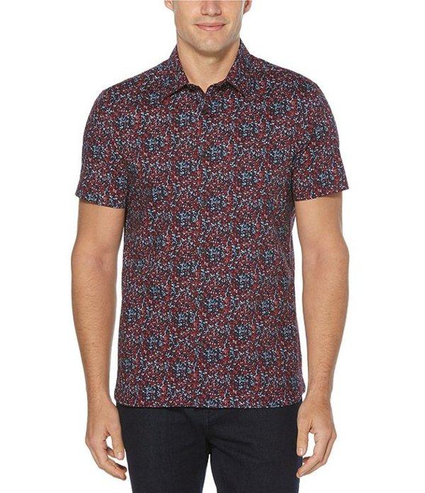 ペリーエリス レディース シャツ トップス Slim-Fit Mini Floral Print Stretch Short-Sleeve Woven Shirt Rhubarb