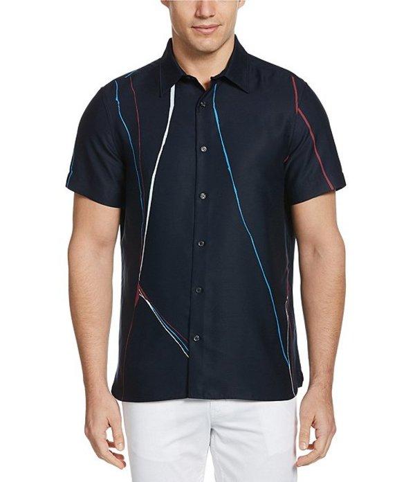 ペリーエリス レディース シャツ トップス Line Print Short-Sleeve Woven Shirt Dark Sapphire