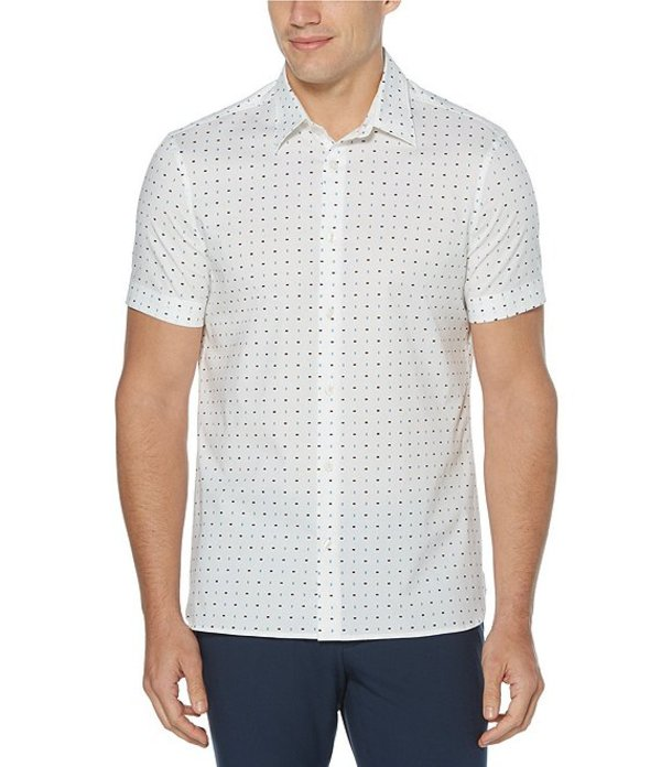 ペリーエリス レディース シャツ トップス Mini Rectangle Print Stretch Short-Sleeve Woven Shirt Bright White