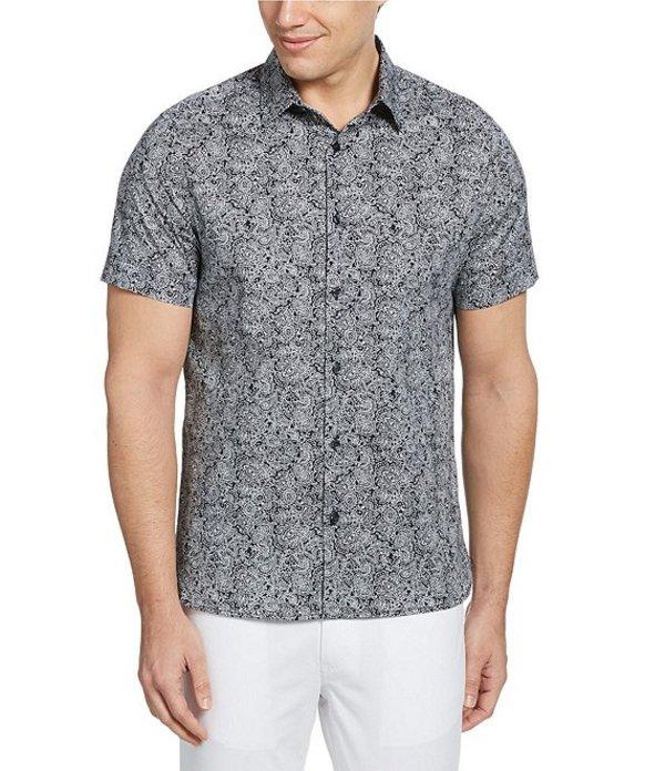 ペリーエリス レディース シャツ トップス Paisley Print Stretch Short-Sleeve Woven Shirt Dark Sapphire