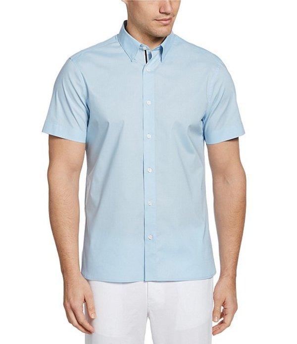 ペリーエリス レディース シャツ トップス Untucked Solid Stretch Short-Sleeve Woven Shirt Cerulean