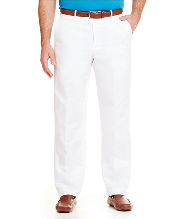 ペリーエリス レディース カジュアルパンツ ボトムス Big & Tall Regular-Fit Flat-Front Solid Linen Pants Bright White