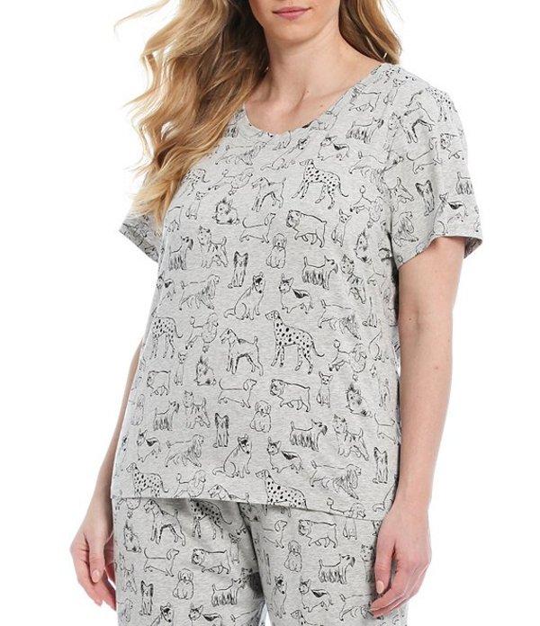 スリープ センス レディース ナイトウェア アンダーウェア Plus Sketchy Dog Print Knit Sleep Top Grey Heather