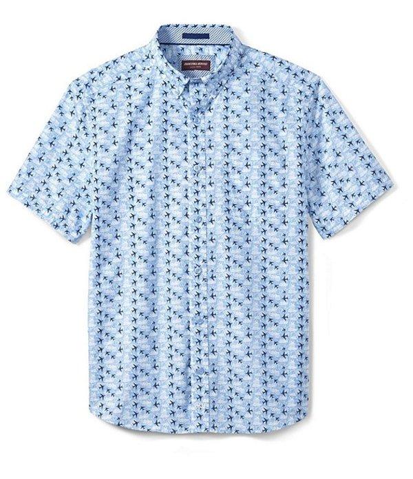 ジョンストンアンドマーフィー レディース シャツ トップス Airplane Cloud Print Short-Sleeve Woven Shirt Blue