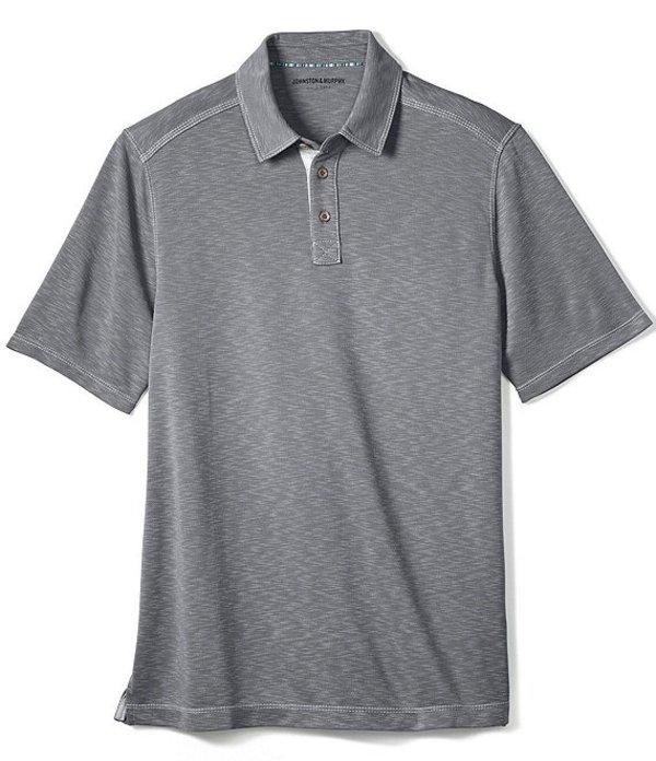 ジョンストンアンドマーフィー レディース シャツ トップス Vintage Slub Short-Sleeve Polo Shirt Gray