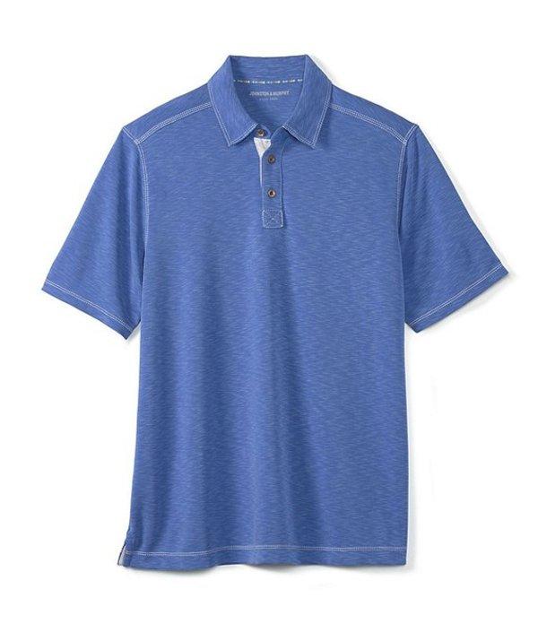 ジョンストンアンドマーフィー レディース シャツ トップス Vintage Slub Short-Sleeve Polo Shirt Royal