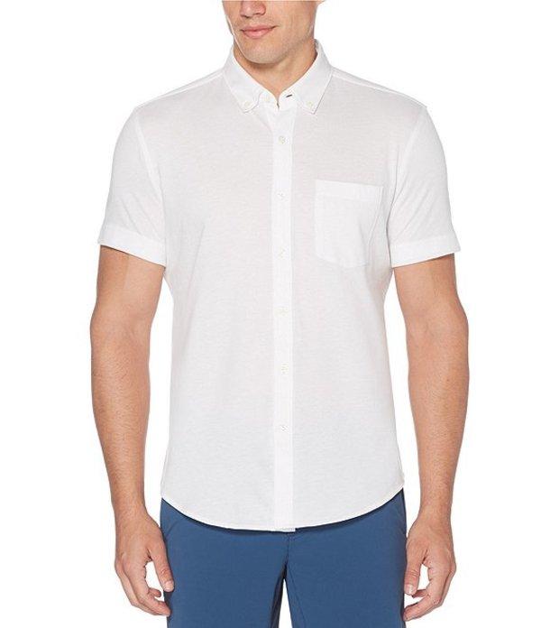 ペリーエリス レディース シャツ トップス Solid Knit Oxford Short-Sleeve Woven Shirt Bright White