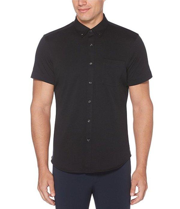 ペリーエリス レディース シャツ トップス Solid Knit Oxford Short-Sleeve Woven Shirt Licorice