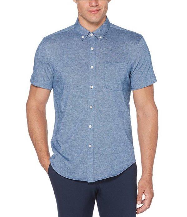 ペリーエリス レディース シャツ トップス Solid Knit Oxford Short-Sleeve Woven Shirt True Blue