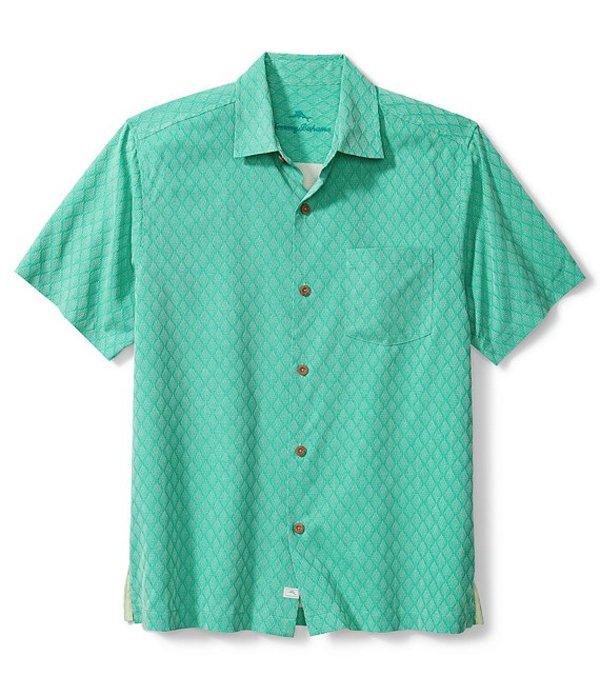 トッミーバハマ レディース シャツ トップス Big & Tall Diamond Cove Silk Jacquard Short-Sleeve Woven Shirt Aqua Aloha