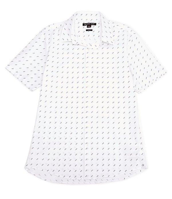 マイケルコース レディース シャツ トップス Slim-Fit Printed Stretch Short-Sleeve Woven Shirt White