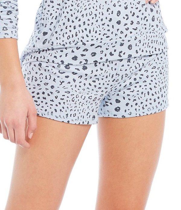 ピージェイサルベージ レディース ハーフパンツ・ショーツ ボトムス Pj Salvage Leopard Print Peachy Knit Sleep Shorts Blue