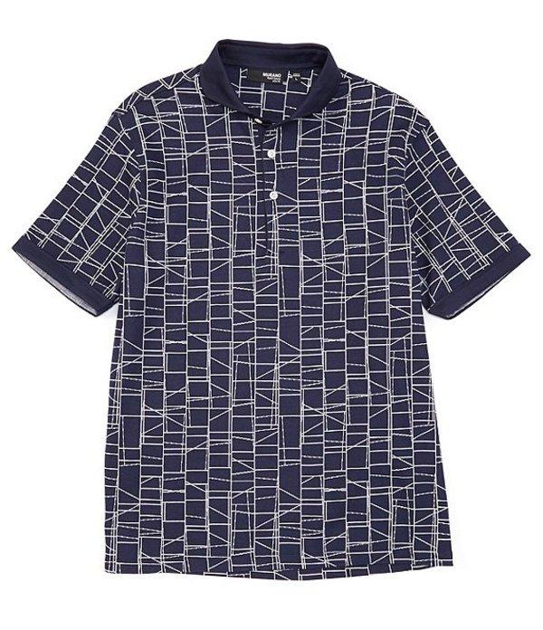 ムラノ レディース シャツ トップス Liquid Luxury Slim-Fit Grid Jacqaurd Short-Sleeve Polo Shirt Dark Navy