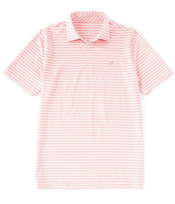 サウザーンタイド レディース シャツ トップス BRRR Driver Heather Stripe Performance Stretch Short-Sleeve Polo Shirt Fresco Pink