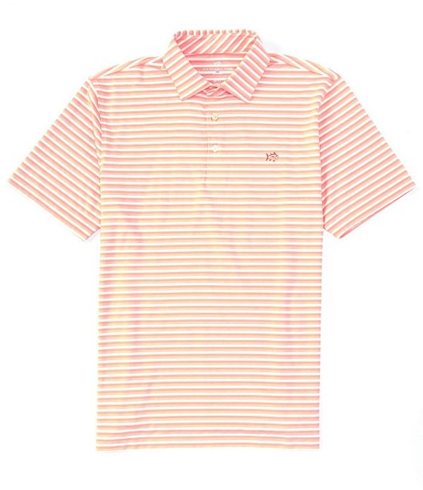 サウザーンタイド レディース シャツ トップス BRRR Driver Heather Stripe Performance Stretch Short-Sleeve Polo Shirt Papaya Punch