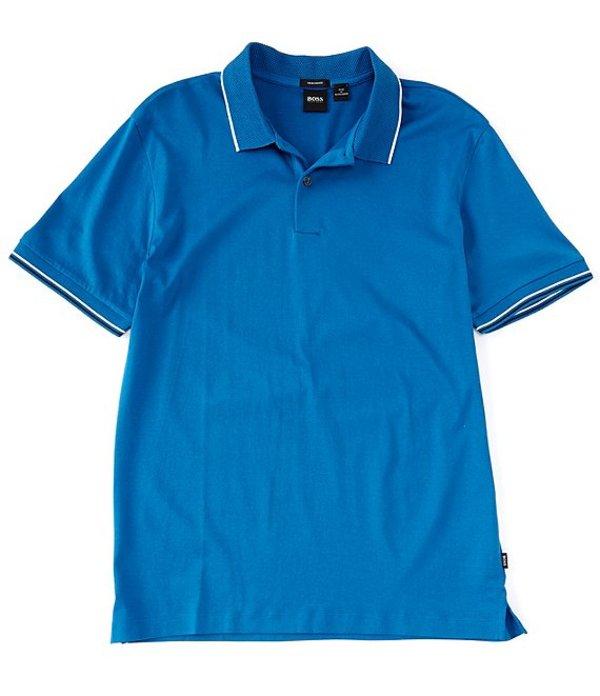 ヒューゴボス レディース シャツ トップス BOSS Parlay Leisure Jersey Short-Sleeve Polo Shirt Blue