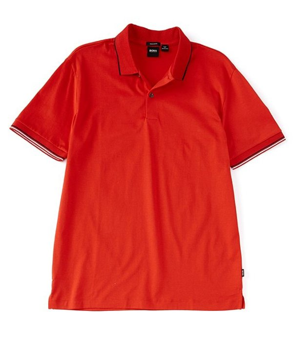ヒューゴボス レディース シャツ トップス BOSS Parlay Leisure Jersey Short-Sleeve Polo Shirt Red