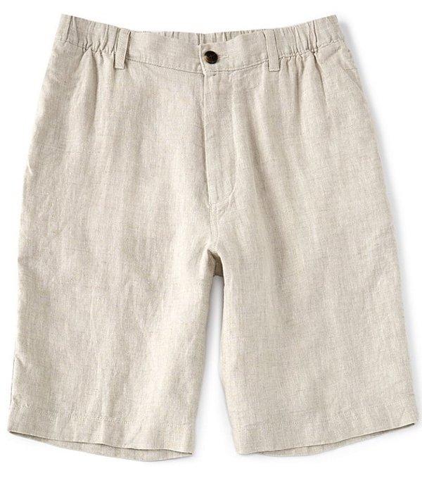 カリビアン レディース ハーフパンツ・ショーツ ボトムス Flat-Front Linen 10#double; Inseam Shorts Natural
