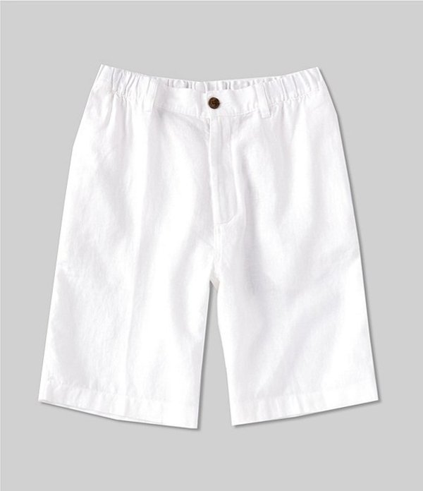 カリビアン レディース ハーフパンツ・ショーツ ボトムス Flat-Front Linen 10#double; Inseam Shorts White