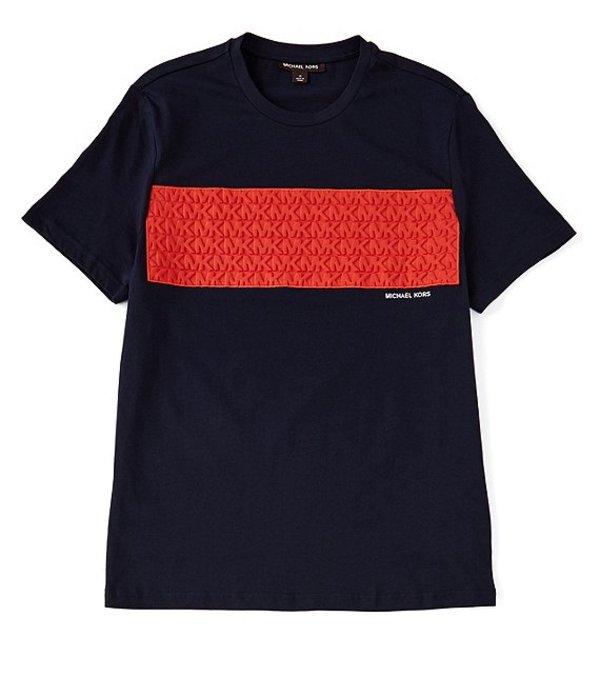 マイケルコース レディース シャツ トップス Debossed MK Logo Short-Sleeve Tee Dark Midnight