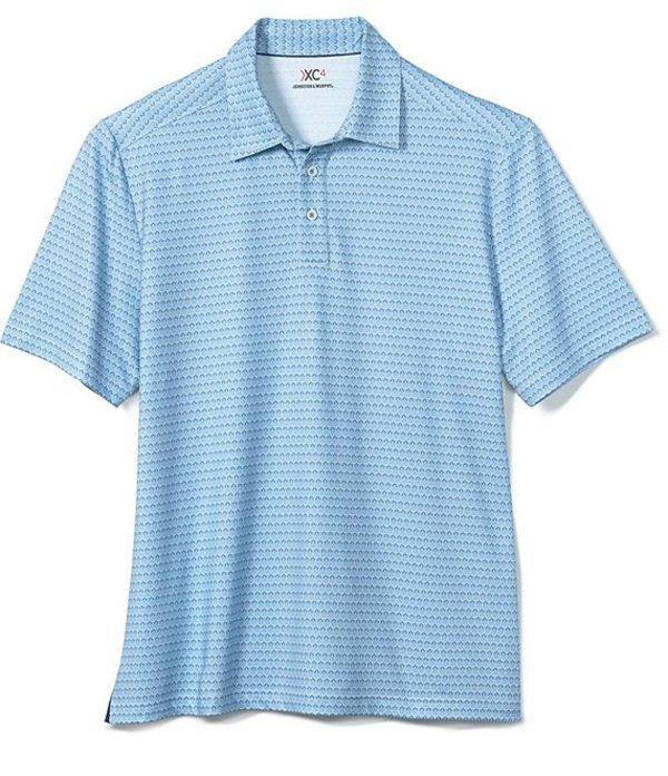 ジョンストンアンドマーフィー レディース シャツ トップス XC4 Golf Club Print Short-Sleeve Polo Shirt Blue/White