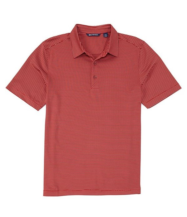 カッターアンドバック レディース シャツ トップス Forge Pencil Stripe CB DryTec Short-Sleeve Polo Cardinal Red