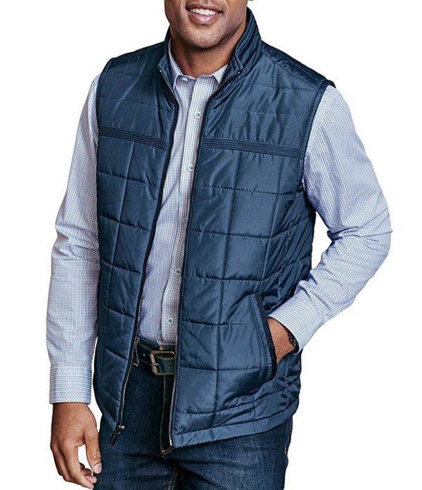 ジョンストンアンドマーフィー レディース ベスト アウター Quilted Full-Zip Vest Blue