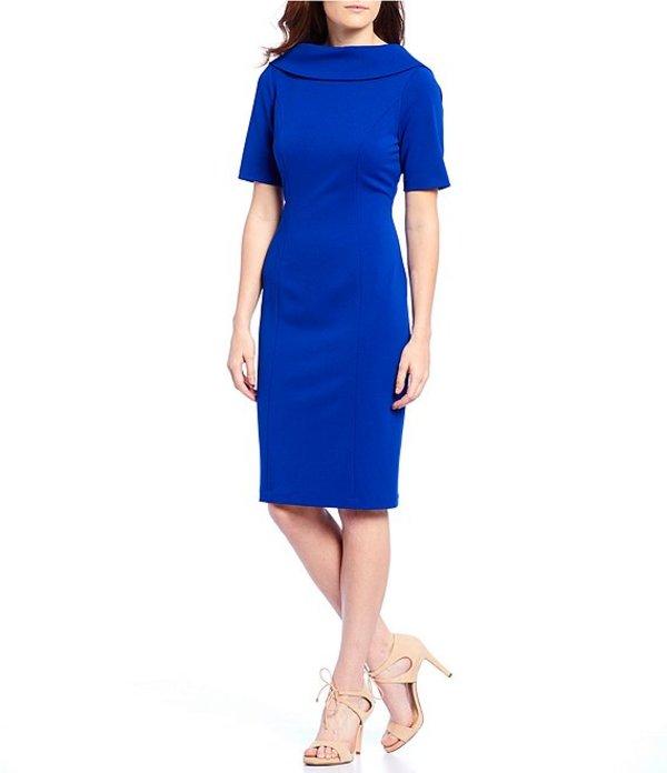 アドリアナ パペル レディース ワンピース トップス V-Back Portrait Collar Midi Length Sheath Dress Cyprus Blue
