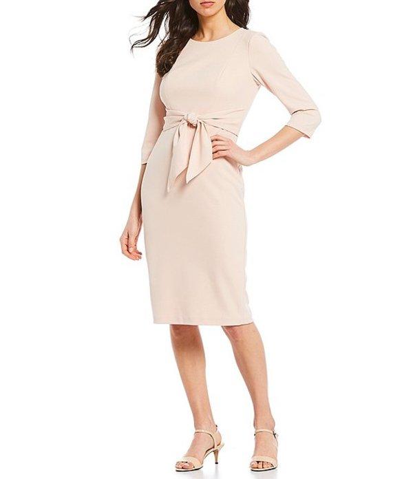アドリアナ パペル レディース ワンピース トップス Stretch Crepe Knit Tie Waist Midi Length Sheath Dress Blush
