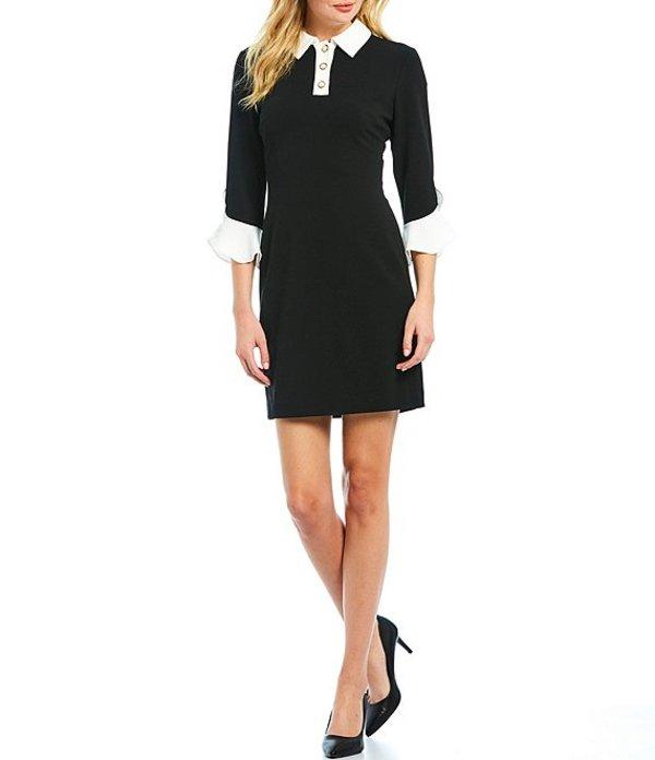 カール ラガーフェルド レディース ワンピース トップス Pearl Collar Contrast Bell Sleeve Scuba Crepe Sheath Dress Black/Ivory
