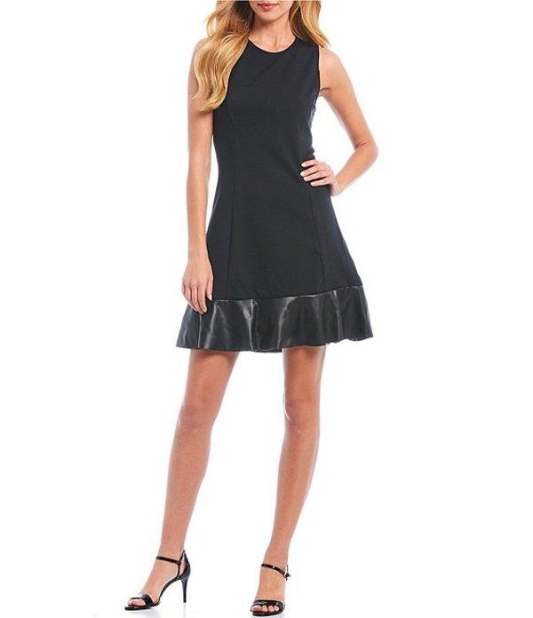 マイケルコース レディース ワンピース トップス MICHAEL Michael Kors Ponte Knit with Faux Leather Hem Sheath Dress Black