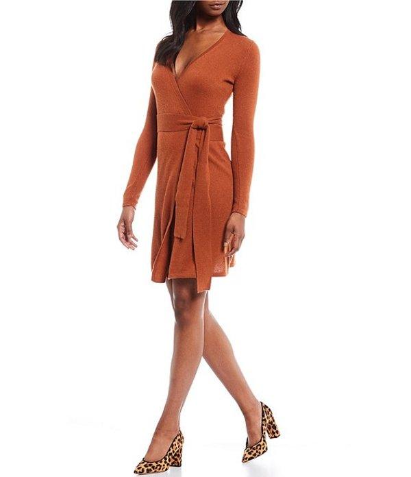 アントニオ メラーニ レディース ワンピース トップス Luxury Cashmere Collection Tina Long Sleeve Wrap Waist Sweater Dress Camel