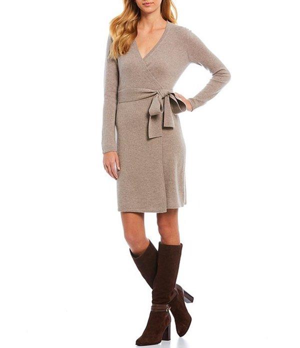 アントニオ メラーニ レディース ワンピース トップス Luxury Cashmere Collection Tina Long Sleeve Wrap Waist Sweater Dress Taupe