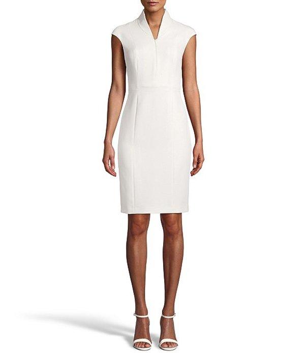 アンクライン レディース ワンピース トップス Zip Front Cap Sleeve Sheath Dress Anne White