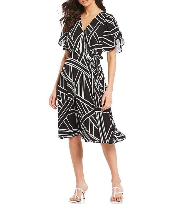 ギブソンアンドラティマー レディース ワンピース トップス Print Tulip Sleeve Wrap Dress Black/Off White