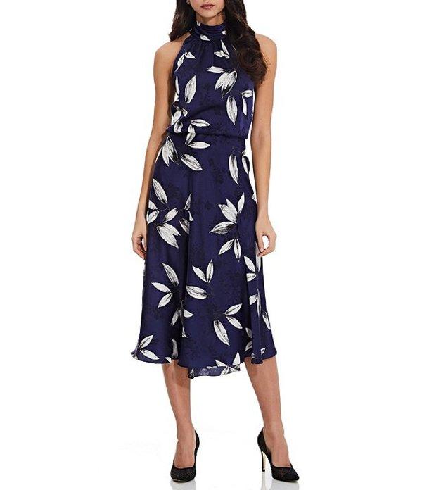 アドリアナ パペル レディース ワンピース トップス Jacquard Printed Blouson Sleeveless Midi Dress Navy/Ivory