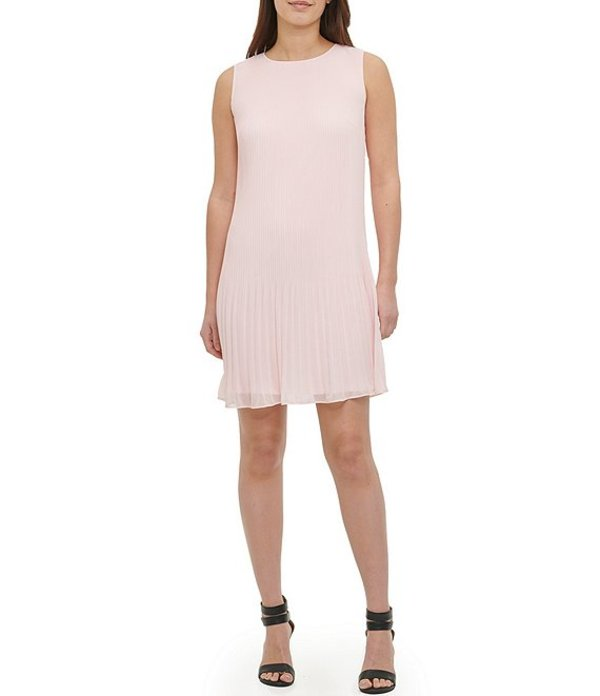 ダナ キャラン ニューヨーク レディース ワンピース トップス Pleated Chiffon Sleeveless Shift Dress Rose