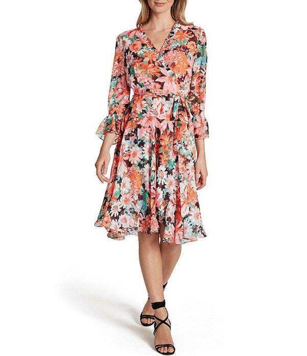 タハリエーエスエル レディース ワンピース トップス Floral Printed Chiffon 3/4 Sleeve Faux Wrap Dress Coral Pink Floral
