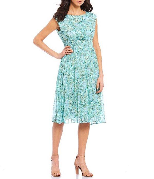マギーロンドン レディース ワンピース トップス Sleeveless Pleated Sunburst Chiffon A-Line Dress Sage/Blue