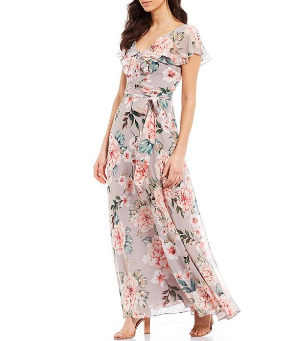 エリザジェイ レディース ワンピース トップス Floral Print V-Neck Flutter Sleeve Tie Waist Chiffon Maxi Dress Grey