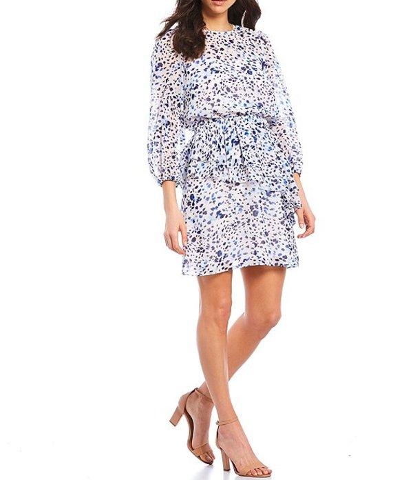 エリザジェイ レディース ワンピース トップス Dot Blouson 3/4 Sleeve Tiered Chiffon Dress Ivory/Navy
