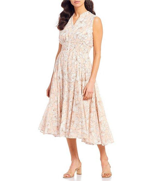 チェルシーアンドセオドール レディース ワンピース トップス Sleeveless Button Front Etched Floral Cotton Voile Midi Dress Print