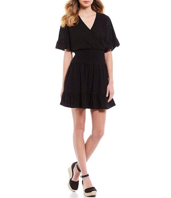 マイケルコース レディース ワンピース トップス MICHAEL Michael Kors Knit Eyelet Jacquard Flounce Sleeve Smocked Waist Dress Black