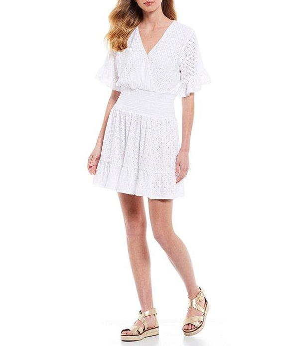 マイケルコース レディース ワンピース トップス MICHAEL Michael Kors Knit Eyelet Jacquard Flounce Sleeve Smocked Waist Dress White