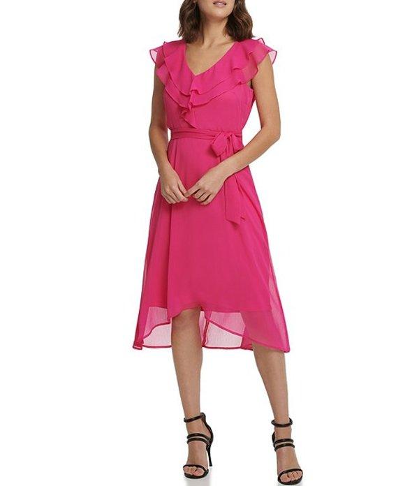 ダナ キャラン ニューヨーク レディース ワンピース トップス Double Ruffle V-Neck Sleevless Hi-Low Midi Dress Pink